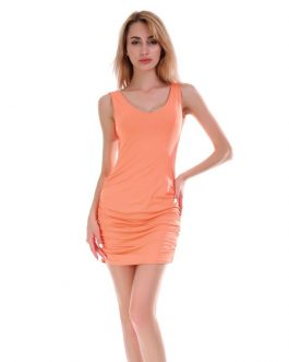 Solid Color Fashion Tank Top Pattern Women Sexy Mini Dress