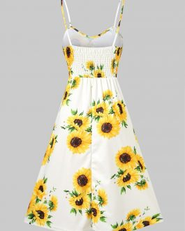 Spaghetti Strap Mini Dress Sunflower Print