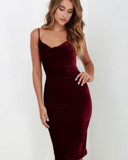 Straps Bodycon Dress Backless Velvet Dress