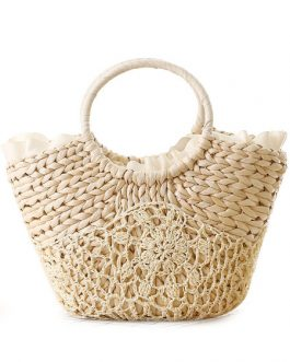 Straw Beach Bag Ring Strap Ribbon Trim Crochet Tote Bags For Women