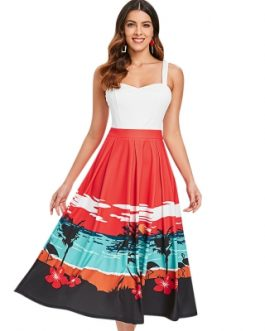 Sunset Beach Print Sleeveless Flared Dress
