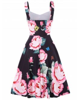 Sweetheart Neck Floral Print Fit and Flare Dress