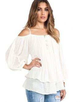 Tiered Open Shoulder Balloon Sleeve Casual Tops For Women