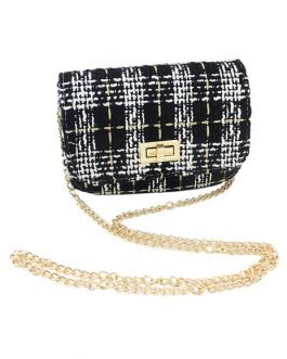 Tweed Shoulder Bag Chain Strap Plaid Women's Fashion Bag