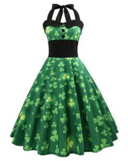 Vintage Pin Up Smocked Halter Party Dress