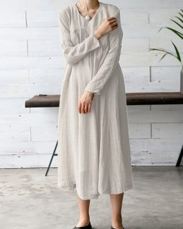 Vintage Women Solid Color V-Neck Long Sleeve Maxi Dress