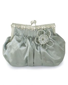 Wedding Clutch Beaded Flower Kiss Lock Purse Ruched Bridal Evening Bags