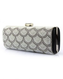 Wedding Clutch Pearl Rhinestone Kiss Lock Evening Handbags