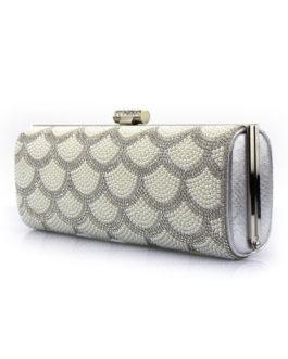 Wedding Clutch Pearl Rhinestone Kiss Lock Evening Handbags