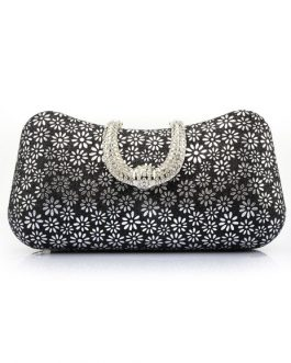 Wedding Clutch Rhinestones Floral Print Bridal Evening Bags