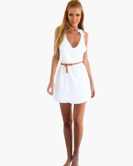 Chiffon Cross Back Women Mini Dress