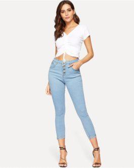 Woman Mid Waist Crop Pencil Jeans High Street Ladies Denim Pants