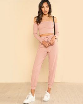 Woman Off the Shoulder Crop Bardot Top and Drawstring Pants Set
