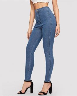 Woman Solid High Waist Denim Long Trousers