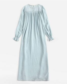 Women Appliques Front Ruffle Trim Nightgown