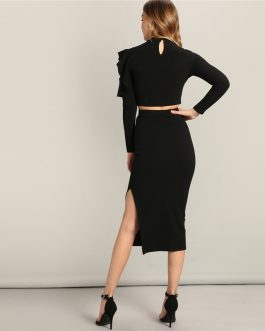Women Asymmetrical Ruffle Sleeve Top And Slit Plain Skirt Set