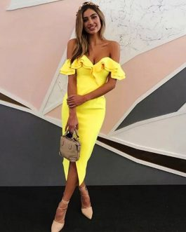 Women Bandage Vestidos Verano Sexy Off Shoulder Club Dress