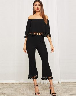 Women Bell Sleeve Tassel Hen Bardot Half Sleeve Top And Flare Pants Set
