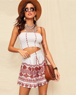 Women Bohemian Bandeau With Tribal Print Ruched Shorts