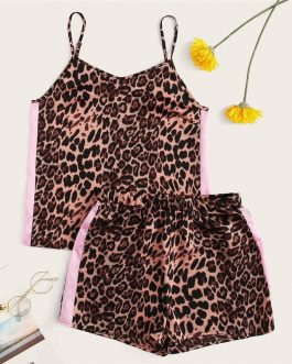 Women Bohemian Leopard Side Tape Camisole Top and Shorts Set
