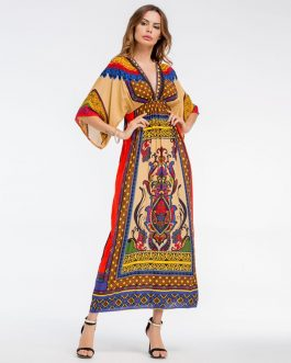 Women Bohemian Print V-Neck beach dress Holiday casual maxi dress