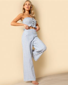 Women Bohemian Shirred Ruffle Hem Strapless Crop Cami Top and Wide Leg Pants Striped Sets