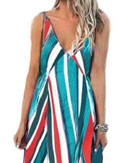 Women Bohemian Sleeveless Strap Stripe Swing Long Maxi Dress