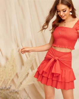 Women Bohemian Smocked Crop Top And Tie Waist Layered Ruffle Skirt Set