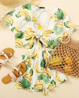 Women Boho Beach Knot Front Fruit Print Crop Top And Shorts Sets