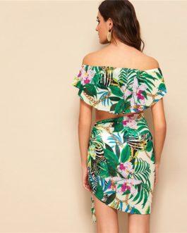 Women Boho Off Shoulder Foldover Tropical Crop Top and Tie Skirt Set