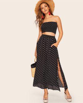 Women Boho Polka Dot Shirred Bandeau Top And Maxi Skirt Set