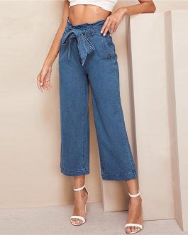 Women Casual Elegant Denim Trousers Workwear Solid Straight Pants Jeans