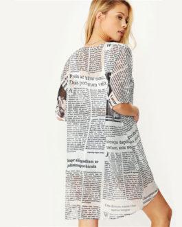 Women Casual Half Sleeve Letter Print Longline Kimono