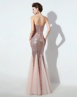 Women Cheap Long Bling Evening Dress Formal Prom Party Gowns