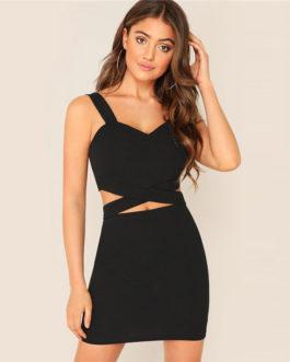 Women Criss-Cross Slim Fitted Crop Tank Top And Skirt Set