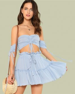 Women Drawstring Crop Bardot Top With Tiered Skirt Set