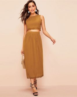 Women Elegant Buttoned Back Lace Trim Crop Top and Long Skirt Set