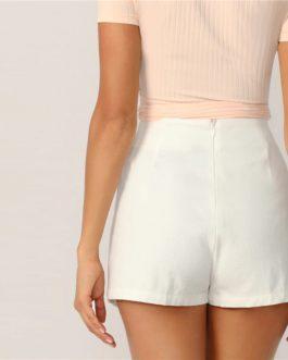 Women Elegant Culottes Mid Waist Shorts