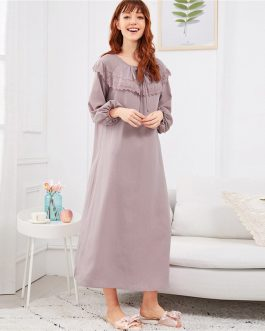 Women Embroidered Flounce Neck Bishop Sleeve Nightdress