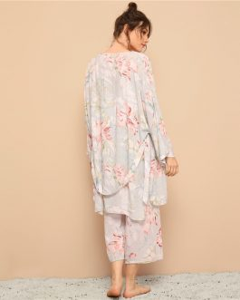 Women Floral Print Cami Pajama Set With Robe