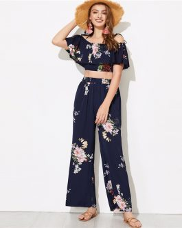 Women Flounce Foldover Top and Wide Leg Pants Set