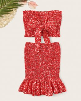 Women Frilled Trim Bow Knot Dot Bandeau Crop Top And Skirt