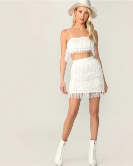 Women Fringe Detail Cami Crop Top and Layered Bodycon Skirt