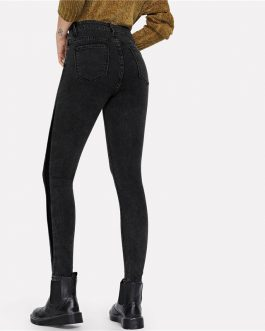 Women Grey Streetwear Mid Waist Elegant Pocket Patched Crop Skinny Jeans