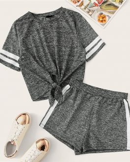Women Knot Front Marled Side Striped Tshirt Top And Shorts Set