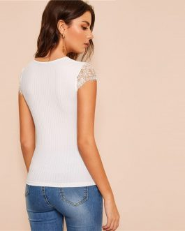 Women Lace Trim Slim Fitted Rib-Knit T Shirt Classy Stretchy Tops