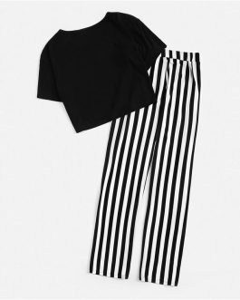 Women Lady Sweet Casual Graphic Crop Tee And Striped Pants