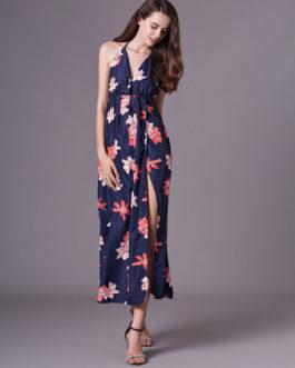 76cdd9eb030a ... Women Maxi Dress Sleeveless Floral Print Split Dark Navy Long Slip  Dresses