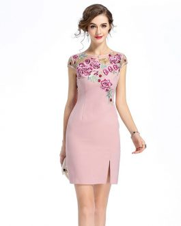 Women Mesh Embroidery Print Vestidos Sweet short Pencil dress