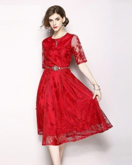 Women Mesh Embroidery print vestidos party dress